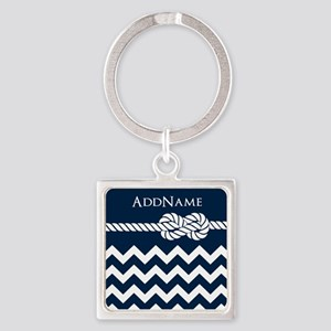 Chevron Rope Knot Personalized Square Keychain