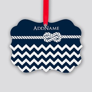 Chevron Rope Knot Personalized Picture Ornament