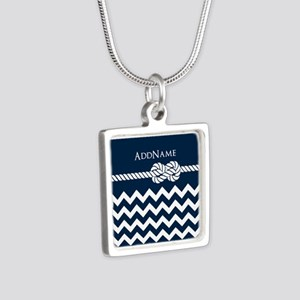 Chevron Rope Knot Personal Silver Square Necklace