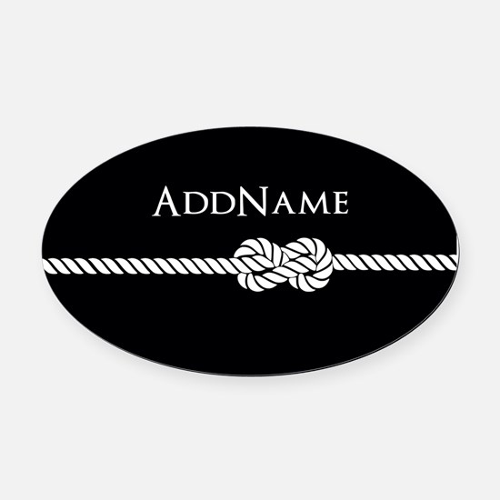 Black Rope Knot Personalized Oval Car Magnet