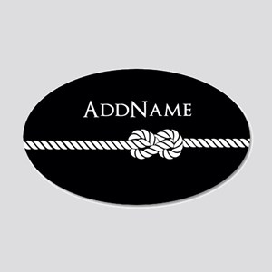 Black Rope Knot Personalized 20x12 Oval Wall Decal