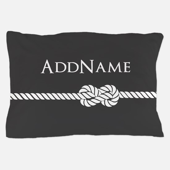 Gray Rope Knot Personalized Pillow Case