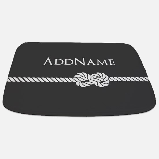 Gray Rope Knot Personalized Bathmat