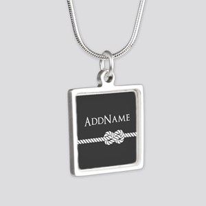 Gray Rope Knot Personalize Silver Square Necklace