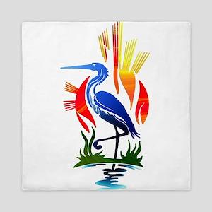 Blue Heron Sun and Marsh Queen Duvet