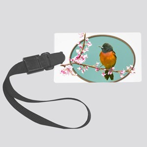 Black and Red Bird in wooden ova Large Luggage Tag