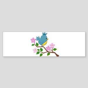 Bird on Tree Limb with Spring Flowe Bumper Sticker