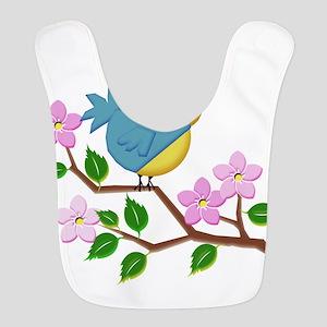 Bird on Tree Limb with Spring Flowers Bib