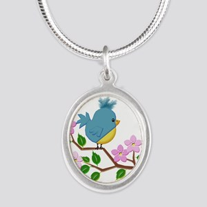 Bird on Tree Limb with Spring Flowers Necklaces