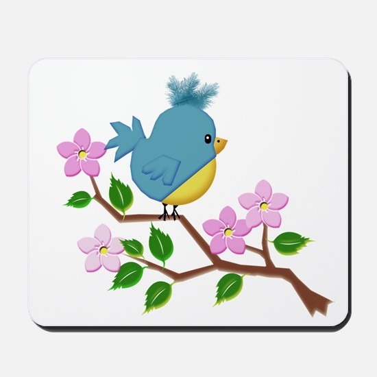 Bird on Tree Limb with Spring Flowers Mousepad
