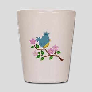 Bird on Tree Limb with Spring Flowers Shot Glass