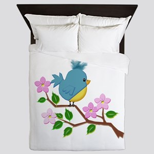 Bird on Tree Limb with Spring Flowers Queen Duvet
