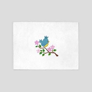 Bird on Tree Limb with Spring Flowe 5'x7'Area Rug