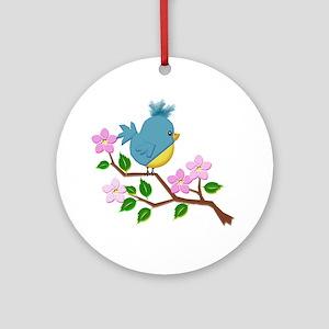 Bird on Tree Limb with Spring Flo Ornament (Round)