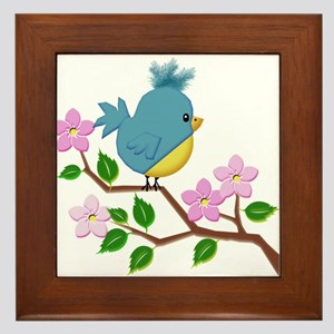 Bird on Tree Limb with Spring Flowers Framed Tile