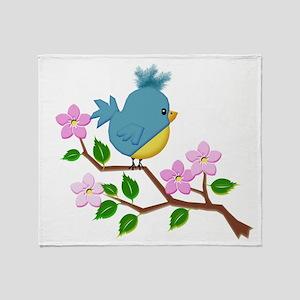 Bird on Tree Limb with Spring Flower Throw Blanket