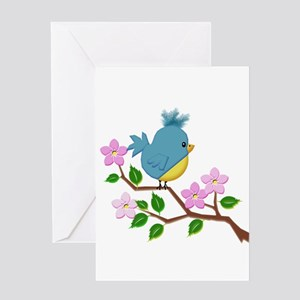 Bird on Tree Limb with Spring Flowe Greeting Cards