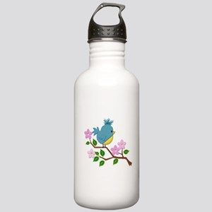 Bird on Tree Limb with Stainless Water Bottle 1.0L