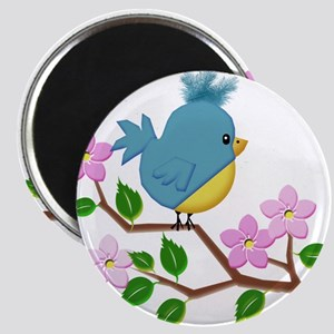 Bird on Tree Limb with Spring Flowers Magnets