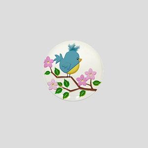 Bird on Tree Limb with Spring Flowers Mini Button