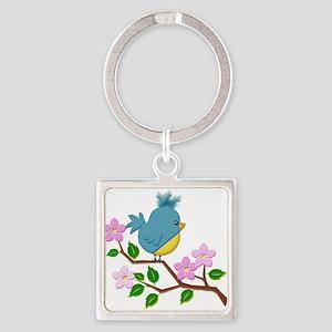Bird on Tree Limb with Spring Flowers Keychains