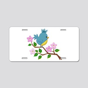 Bird on Tree Limb with Spri Aluminum License Plate