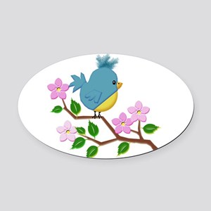 Bird on Tree Limb with Spring Flow Oval Car Magnet