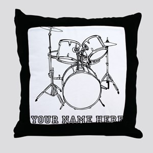 Custom Drum Set Throw Pillow