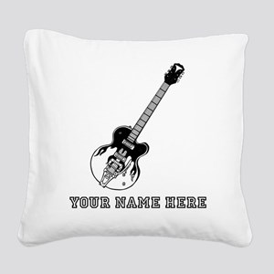Custom Electric Guitar Square Canvas Pillow
