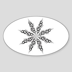Tribal Snowflake Oval Sticker