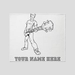 Custom Bass Guitar Player Throw Blanket