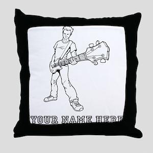 Custom Bass Guitar Player Throw Pillow