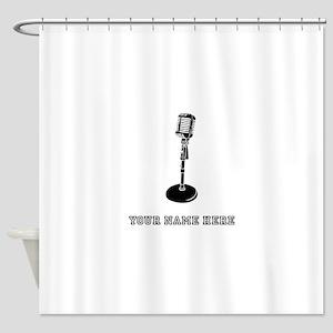 Custom Retro Microphone Shower Curtain