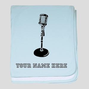 Custom Retro Microphone baby blanket