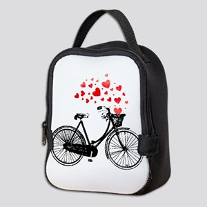 Vintage Bike with Hearts Neoprene Lunch Bag