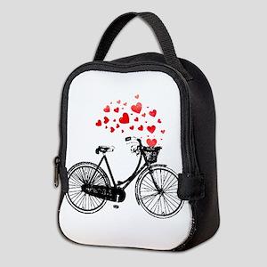 Vintage Bike with Hearts Neoprene Lunch Bag