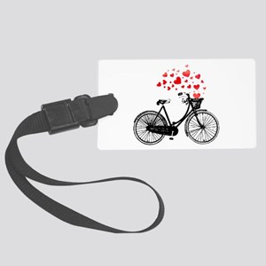 Vintage Bike with Hearts Large Luggage Tag