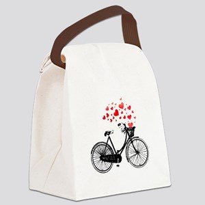 Vintage Bike with Hearts Canvas Lunch Bag