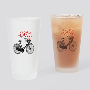 Vintage Bike with Hearts Drinking Glass