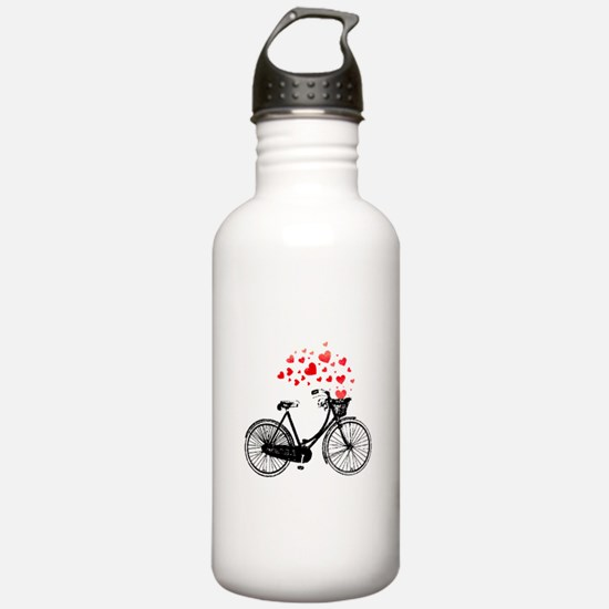Vintage Bike with Hearts Water Bottle