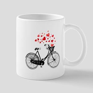 Vintage Bike with Hearts Mugs