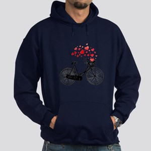 Vintage Bike With Hearts Hoodie (dark)