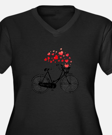 Vintage Bike With Hearts Plus Size T-Shirt