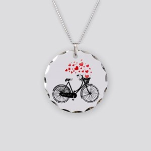Vintage Bike With Hearts Necklace Circle Charm
