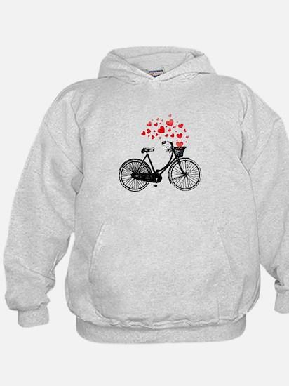 Vintage Bike with Hearts Hoodie