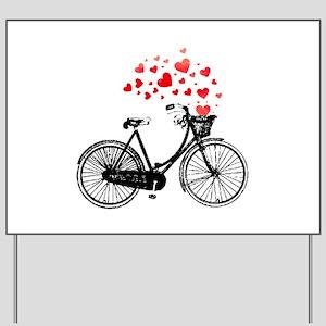 Vintage Bike with Hearts Yard Sign