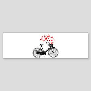 Vintage Bike with Hearts Bumper Sticker