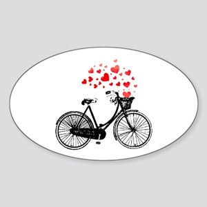 Vintage Bike with Hearts Sticker