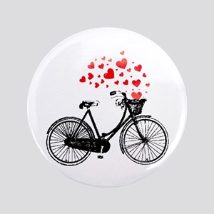 "Vintage Bike with Hearts 3.5"" Button"