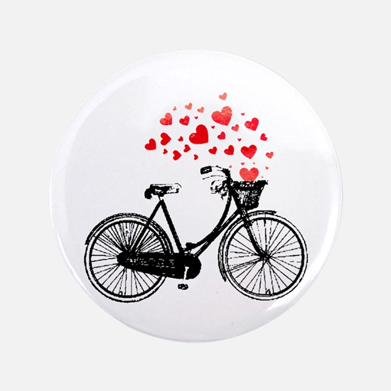 """Vintage Bike with Hearts 3.5"""" Button"""